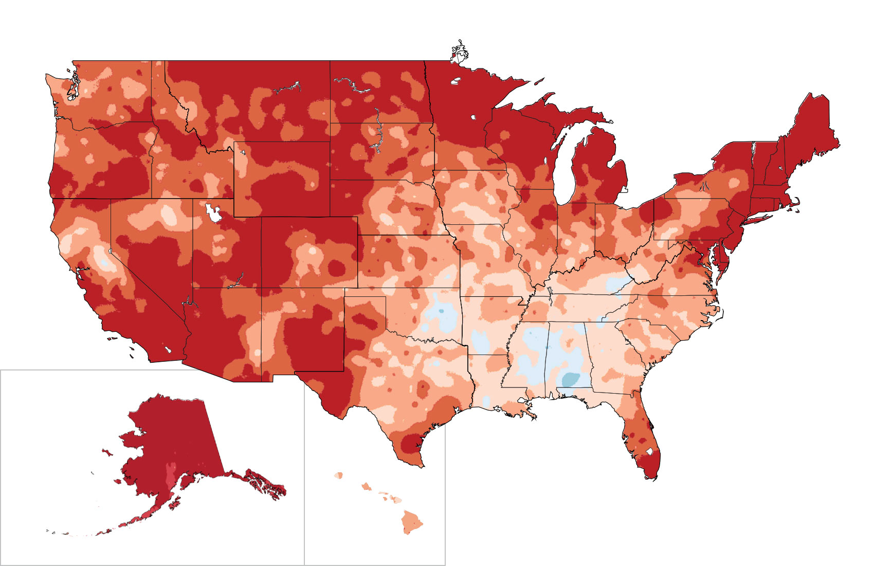 Recent US Temperature Trends National Climate Assessment - Average temp map us