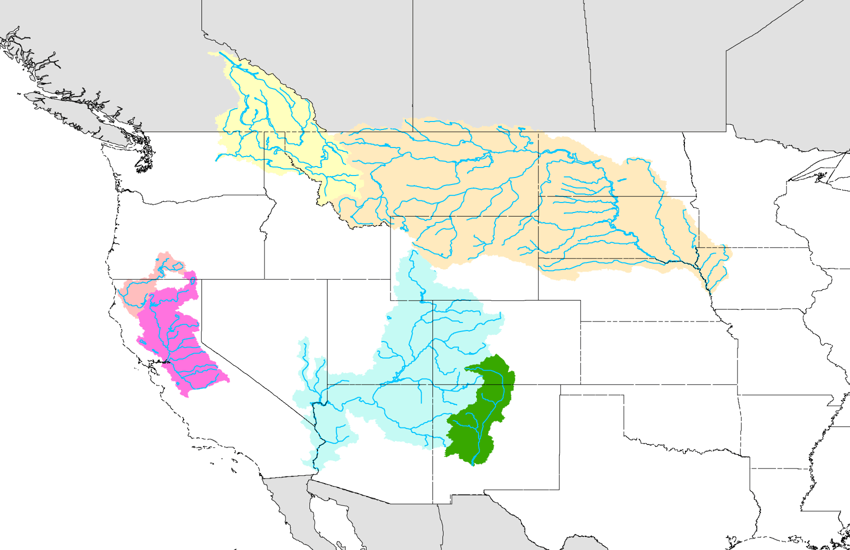 Streamflow Projections For River Basins In The Western US - Map of us river basins