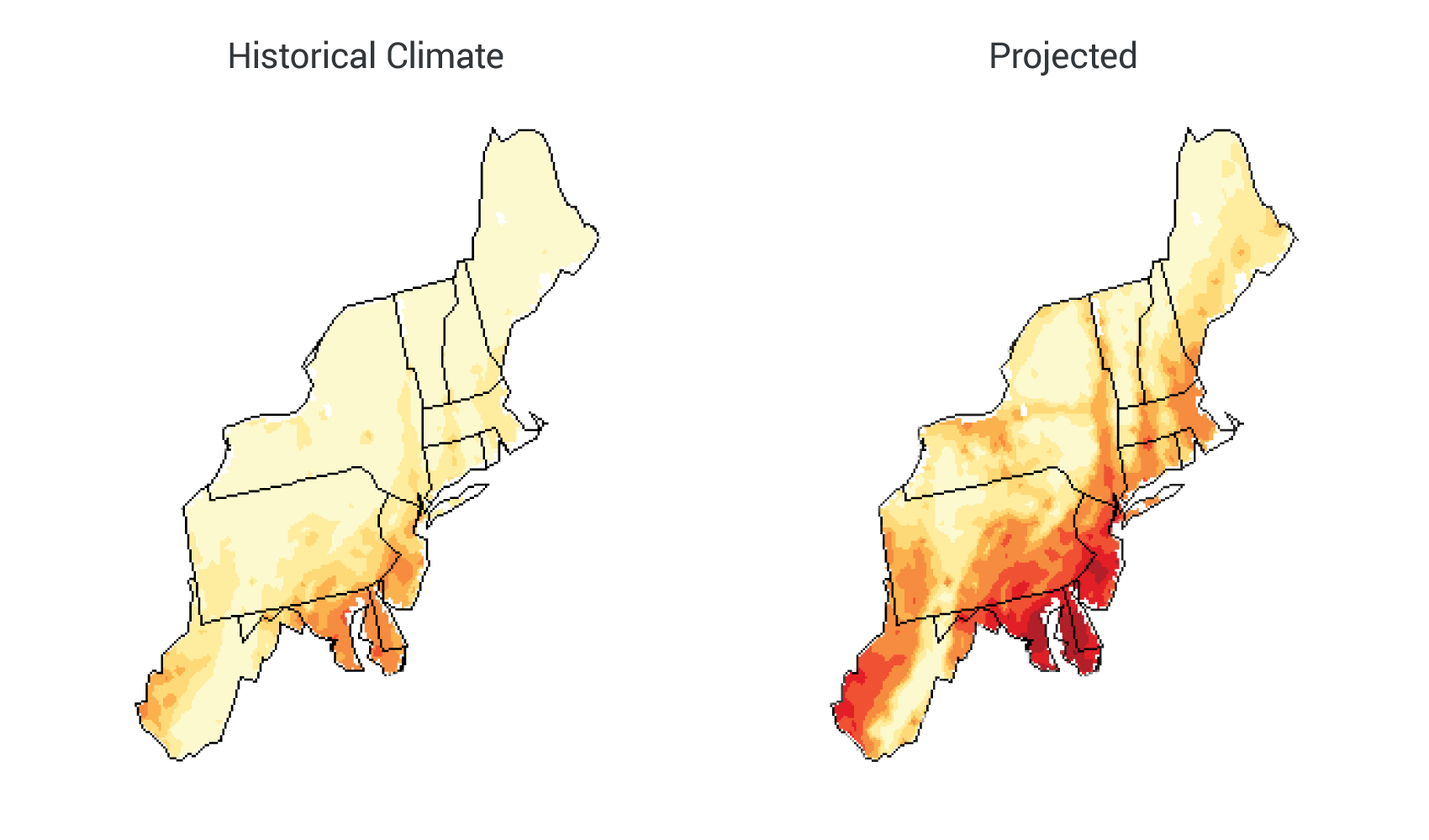 Northeast national climate assessment projected increases in days over 90f sciox Images