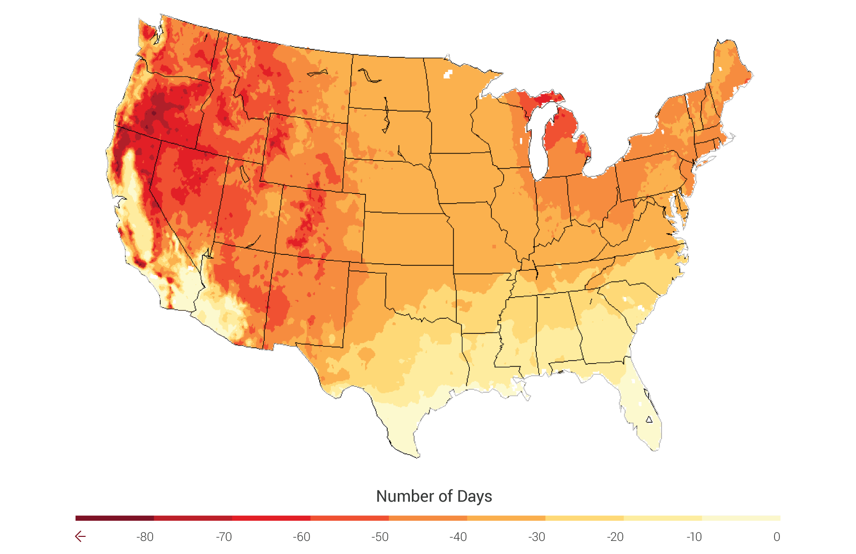 Agriculture National Climate Assessment - Projected heat map of us