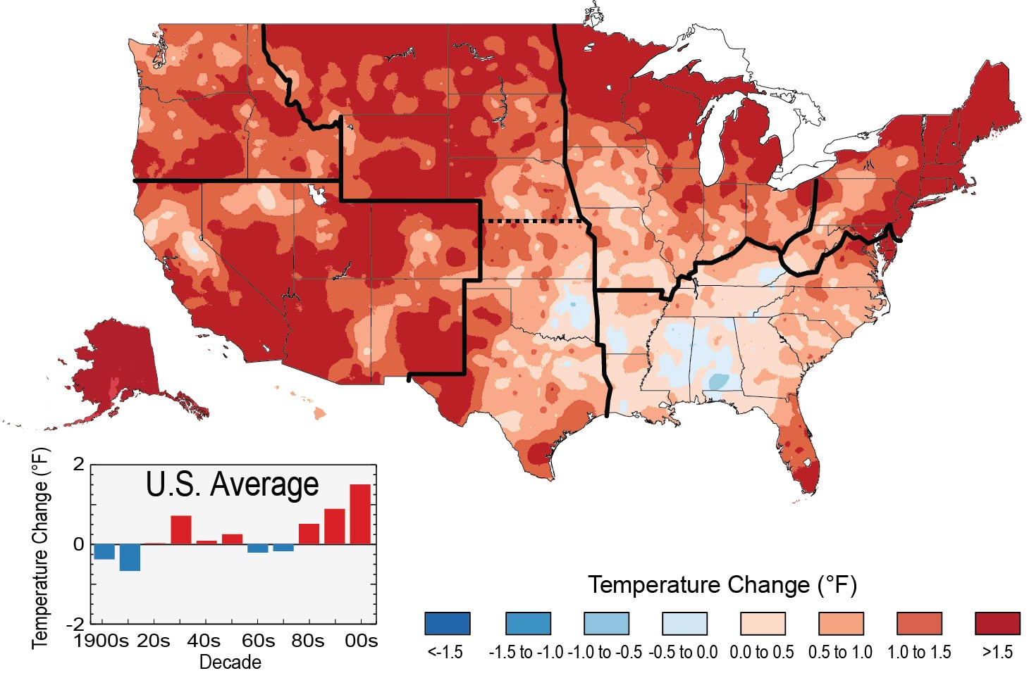 observed u s temperature change