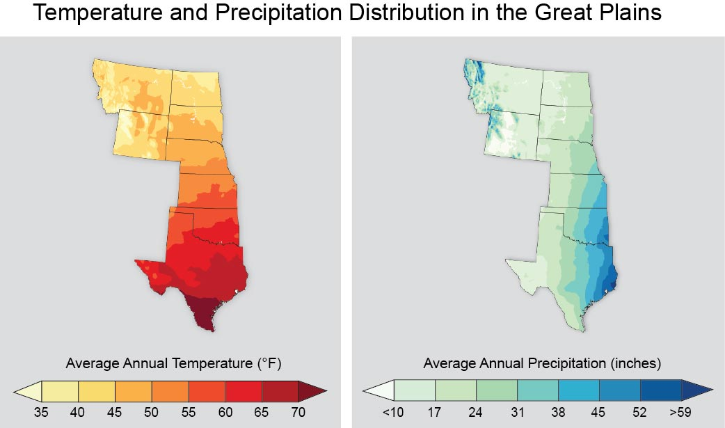 Temperature And Precipitation Distribution In The Great Plains - Great Plains On Us Map