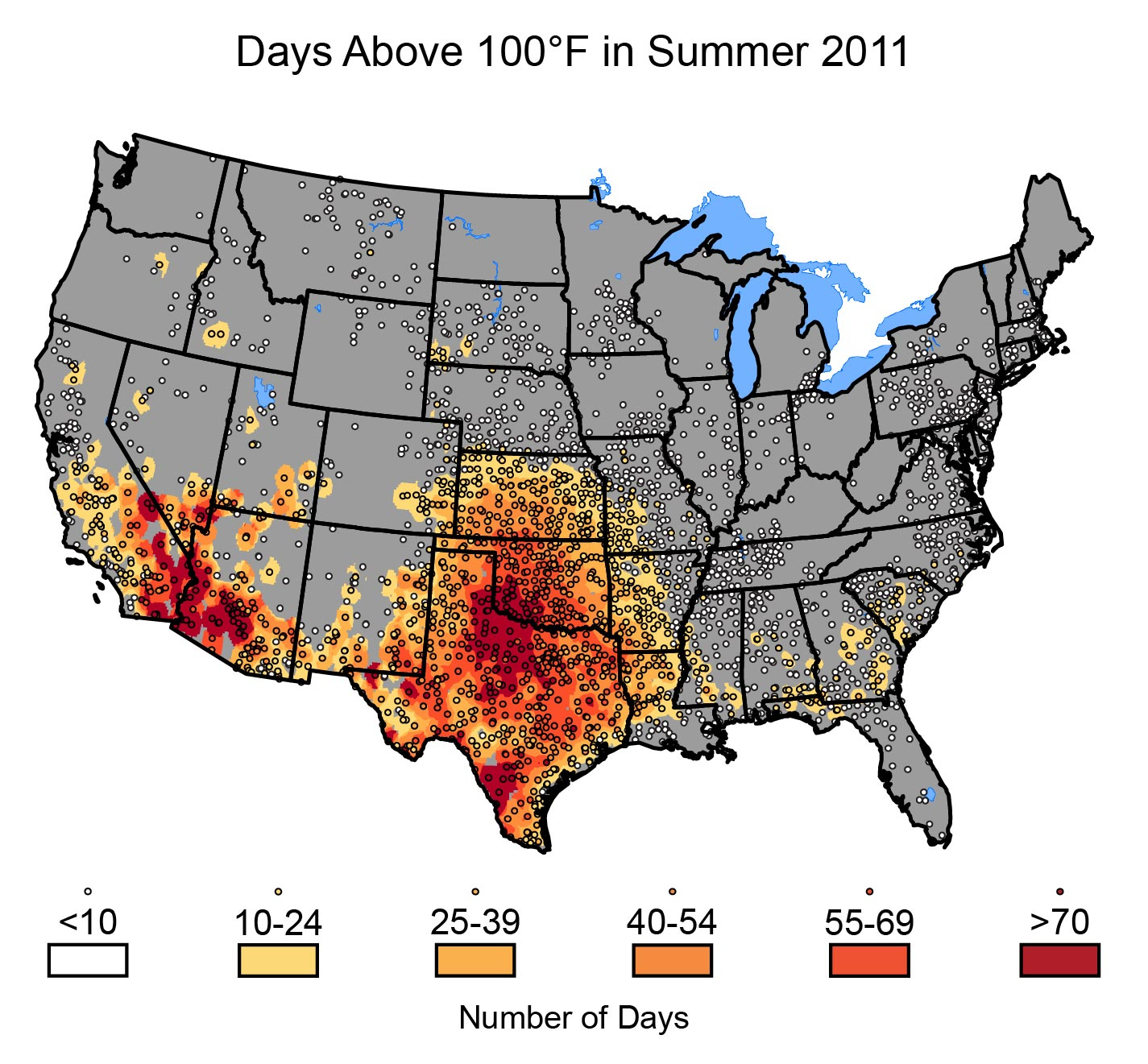 figure 19 10 days above 100of in summer 2011