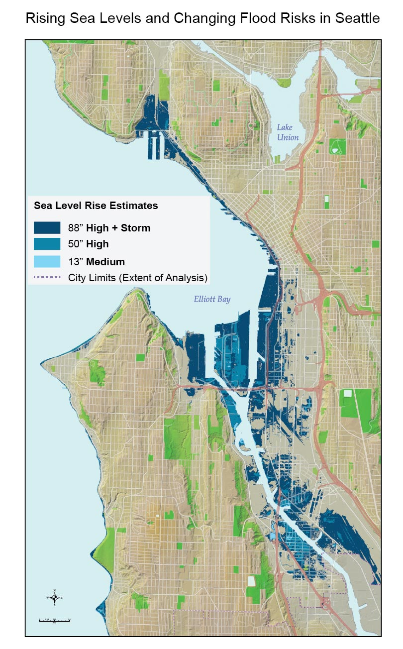 Rising Sea Levels And Changing Flood Risks In Seattle National - Climate change sea level rise map