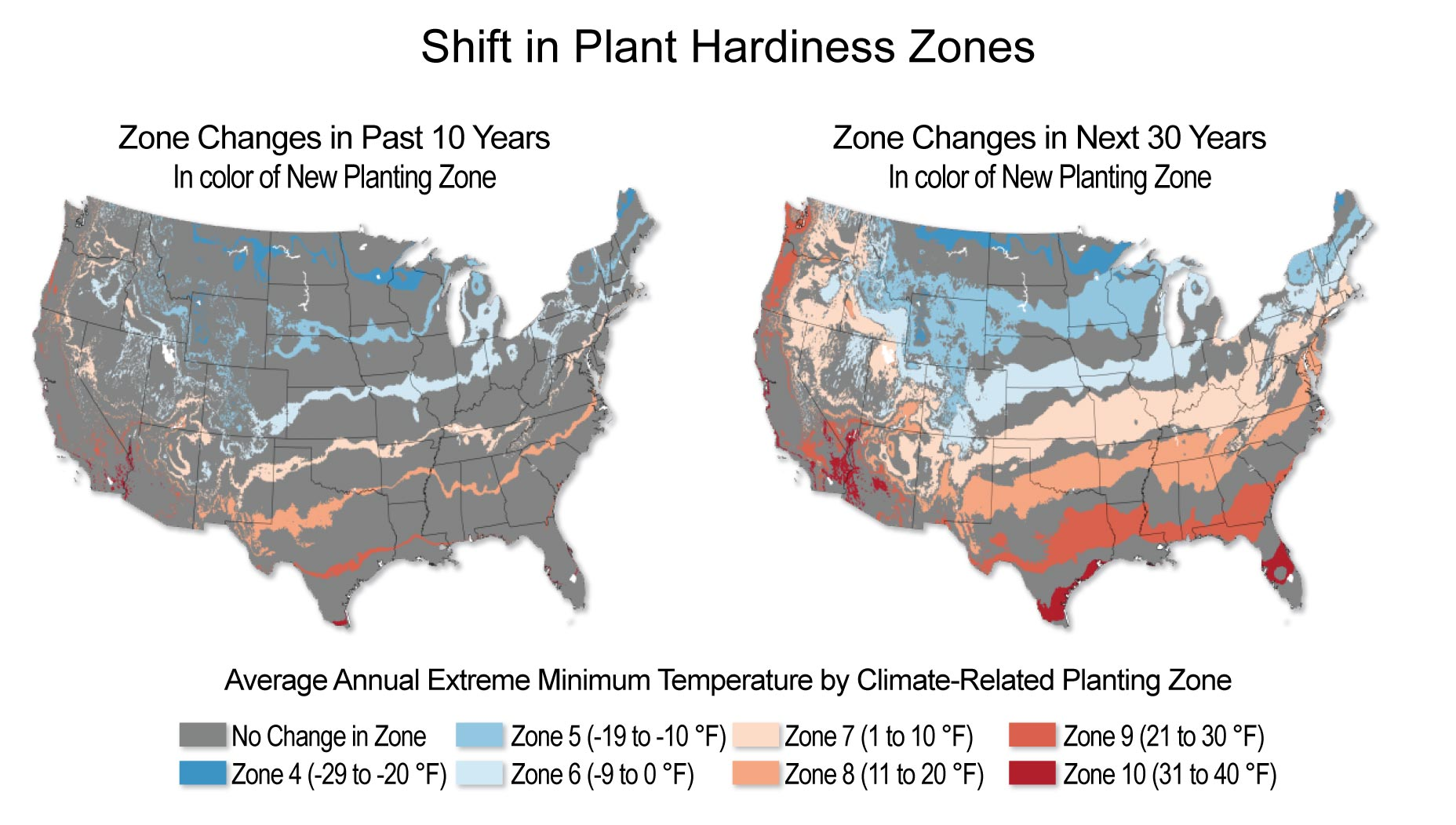 USDA Hardiness Zone Changes For The US In The Future - Map of growing zones in the us