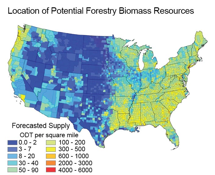 Figure 7 7 Location Of Potential Forestry Biomass Resources