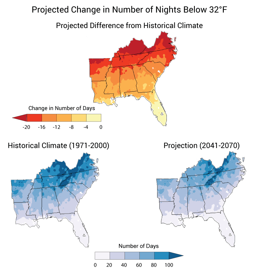Projected Change in Number of Nights Below 32°F