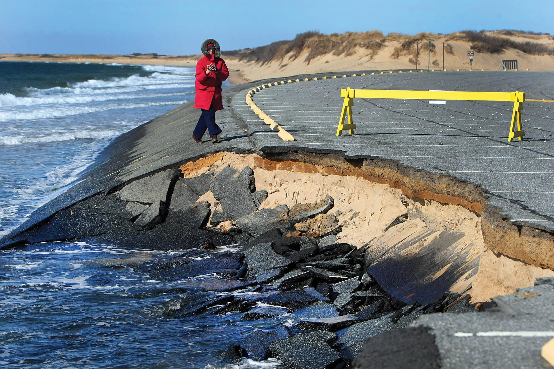 Coastal road damage