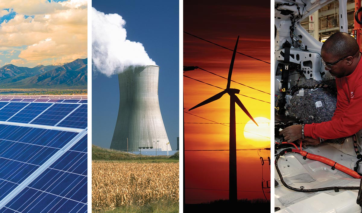 solar, nuclear, wind and efficient cars
