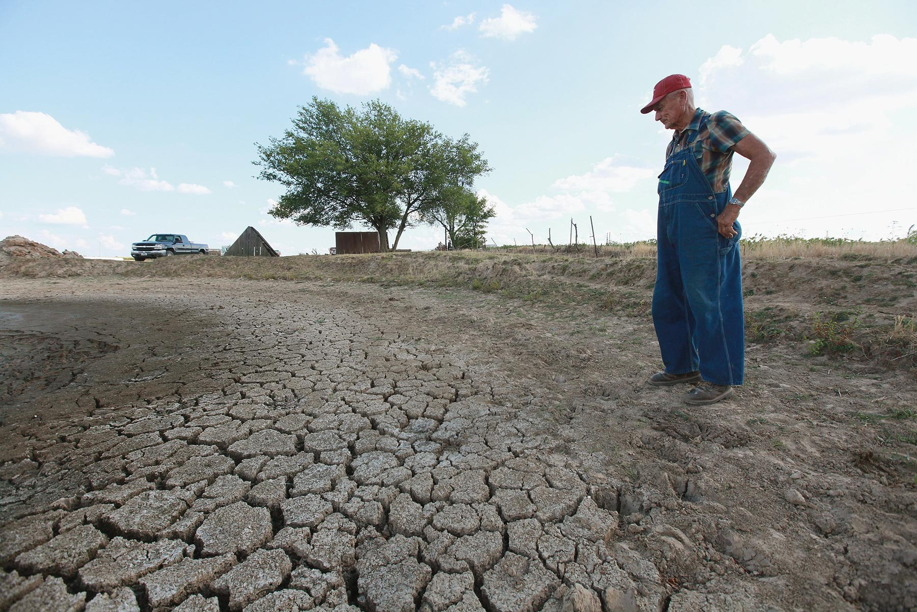 farmer examines parched land