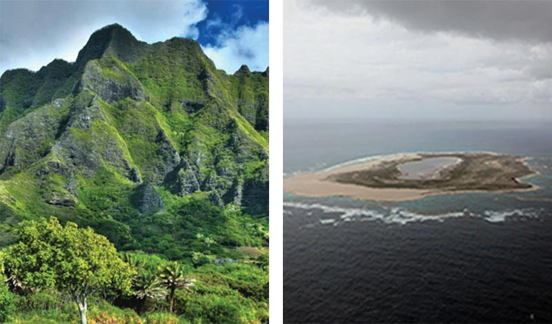 Ko'olau Mountains, Oahu, HI; Laysan Island, Papahānaumokuākea Marine National Monument