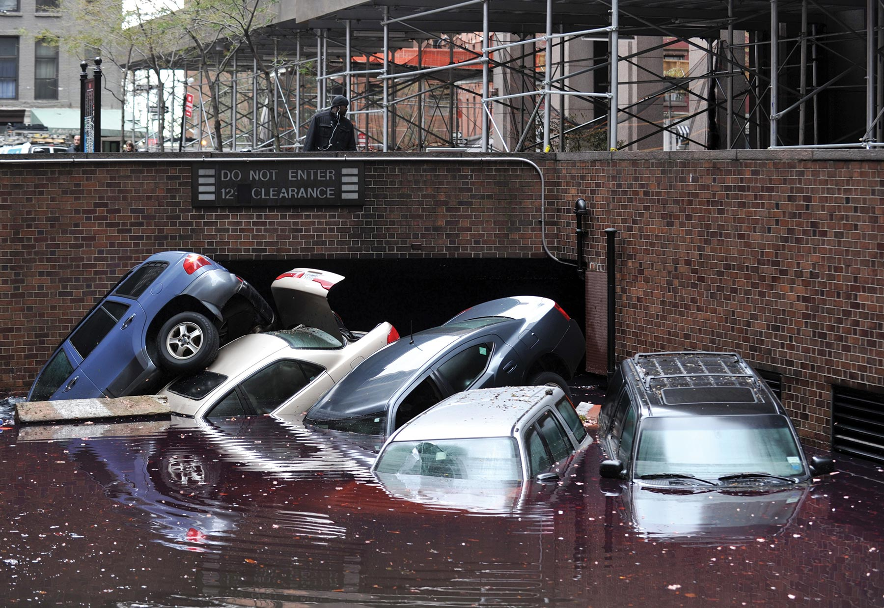 cars piled up and underwater